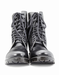 black army shoes isolated on white backgrounds