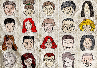 Face people   on Cement wall texture background