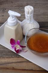 Scrub oil and skincare.