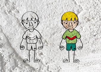 People cartoon   on Cement wall texture background