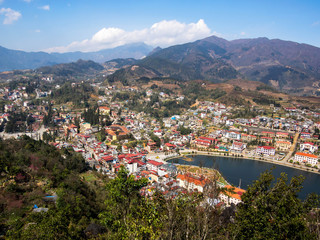 General View of Sapa Town, Lao Cai District, Vietnam