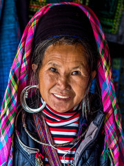Portrait of Black Hmong Woman Wearing Traditional Attire, Sapa,