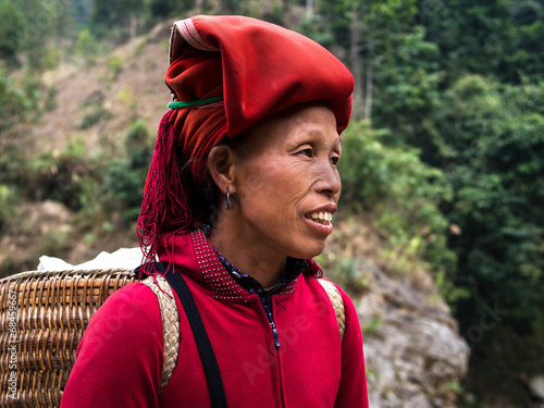 Red Dao Woman Wearing Traditional Headdress, Sapa, Lao Cai, Viet