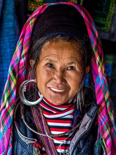 Portrait of Black Hmong Woman Wearing Traditional Attire, Sapa,