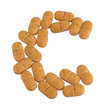Vitamin C on white background