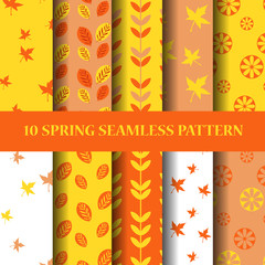 yellow and orenge sping seampless pattern set
