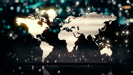 World Map Silver City Bokeh 3D Background Loop Animation