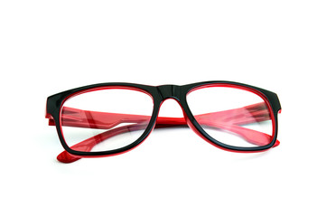 Red glasses isolated over the white background