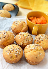 Buns made from yeast dough mixed with sweet potato puree.
