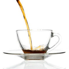 Pour coffee into glass cup.
