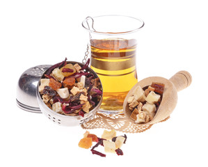 dried fruit  and petals, turkish tea, with strainer  ,