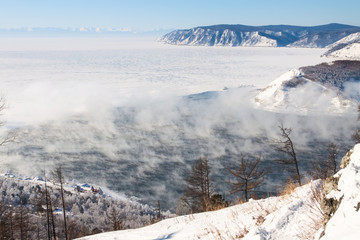 Winter landscape of Lake Baikal. Start of the Angara river