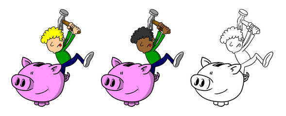 Multi-Racial Boy Smashing Piggy Bank
