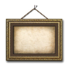 Vintage picture frame on the white isolated background