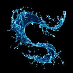 Water splash, isolated on black background