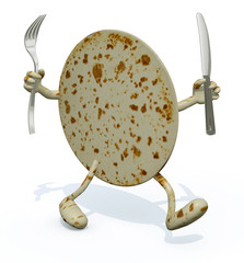 piadina with arms, legs fork and knife on hands