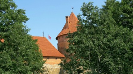 Trees covering the red brick castle in Trakai GH4 4K UHD