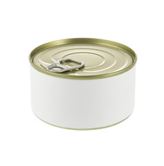 Close-up various white tin can on white background.