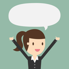Young business woman with speech bubble