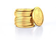 Gold dollar coins stack and one coin recumbent on it.