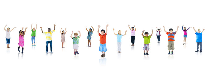 Group of Children Rising Their Hands