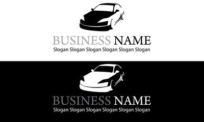 Logo silhouette voiture noir et blanc