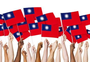 Hands Holding Flag of Taiwan