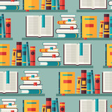 Fototapety Seamless pattern with books on bookshelves in flat design style.