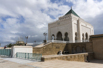 The Mausoleum of Mohammed V, a historical building located on th