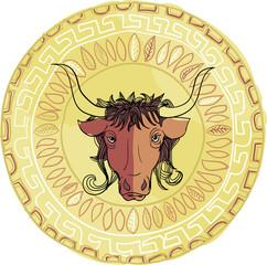 Стилизованный бык на фоне греческой или цветочной мандалы