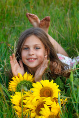 girl with yellow on green a meadow, emotions, lifestyle