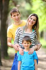 Happy family, walk in the park