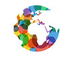Geometric abstract earth globe sphere vector