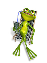 frog in a deckchair