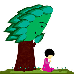 Little girl and cute tree praying