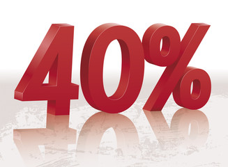 40 percents discount symbol with reflection
