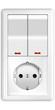 canvas print picture - Wand - Lichtschalter mit Steckdose weiss, freigestellt