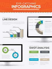 Modern trendy infographic template vector with computer timeline