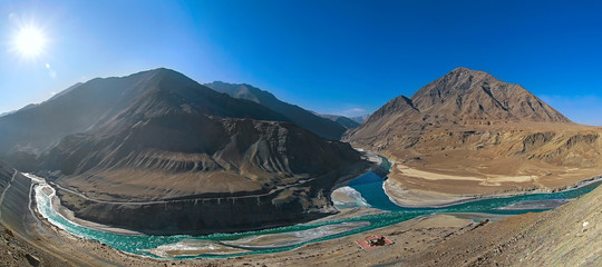 Panorama confluence of the Indus and Zanskar