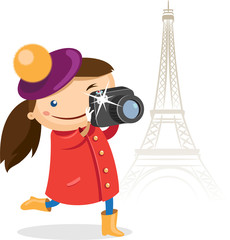 Girl takes pictures on the BG of the Eiffel Tower