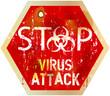 computer virus alert sign, vector illustration