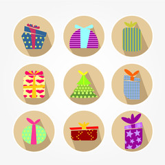 Icons set with brightly colored gift boxes - vintage