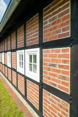 Fachwerkhaus mit gemauerten Ziegelsteinen, Seitenwand