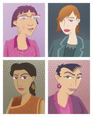 Four young women. Portrait of four young women
