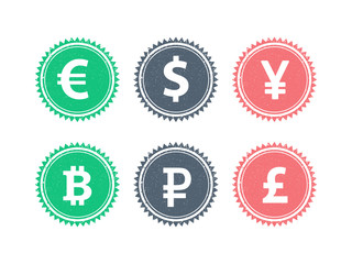 Euro Dollar Yen Yuan Bitcoin Rubel Pound currencies vector