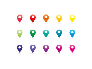 Collection of colorful rainbow spectrum map pointer icons