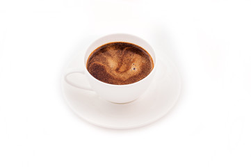 Fragrant coffee cup on white background