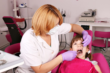female dentist extracted the tooth a little girl
