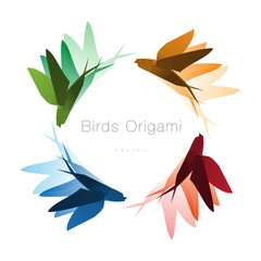 Origami Birds Flying Logo