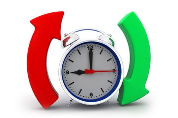 Alarm clock with arrow circle.